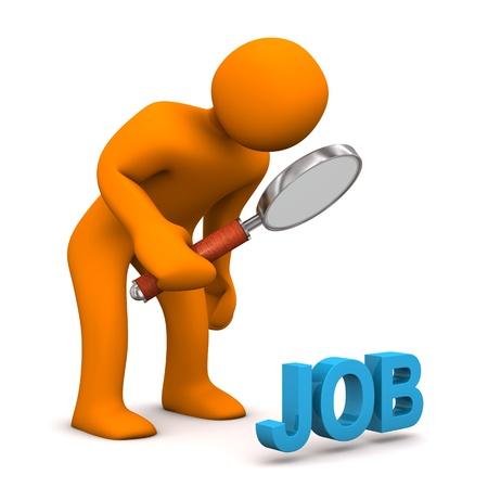 constat: Personnage de dessin anim� orange avec loupe et bleu JOB texte. Banque d'images
