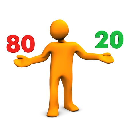 principle: Orange cartoon character with numbers 80 and 20. White background.