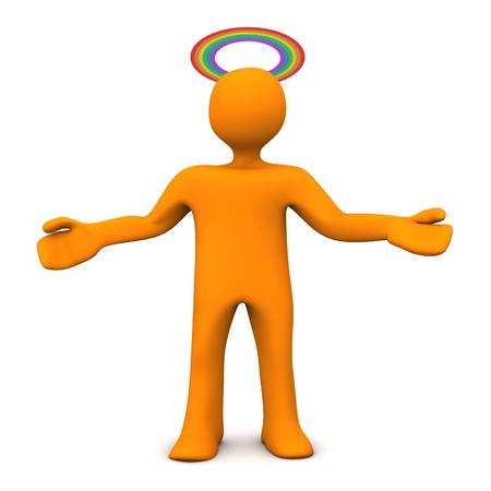 Orange cartoon character with gloriole in rainbow colors. White background. Stock Photo - 19398005