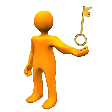 Orange cartoon character with golden key. White background. photo