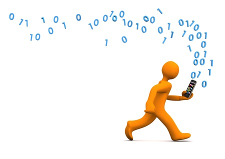 orange cartoon: Orange cartoon character runs with a smartphone. White background. Stock Photo