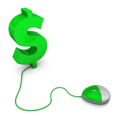 Pc-mouse with big green dollar symbol. White background. Stock Photo - 19398090