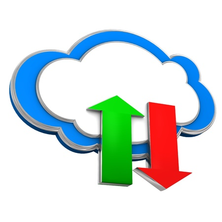 Cloud with two arrows of upload and download. White background. Stock Photo - 19398116
