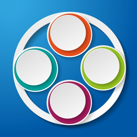 ten empty: Colorful inforgraphic paper lifecycle on the blue background   Illustration