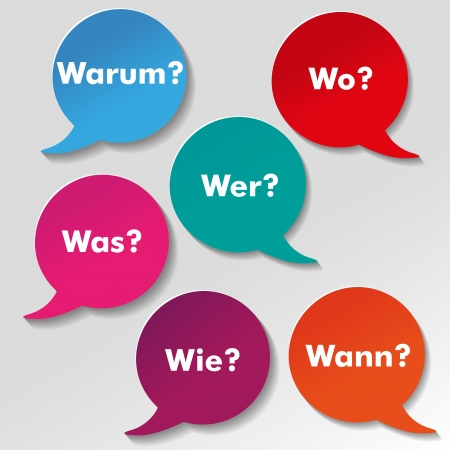 Colorful questions speech paper bubbles with numbers  German text warum, was, wo, wie, wann, wer translate why, what, where, how, when, who  Eps 10 vector file  Vector