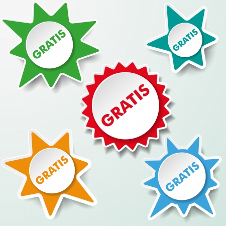gratis: Star paper labels with the text gratis
