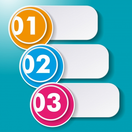 Three options paper labels on the cyan background  Vector