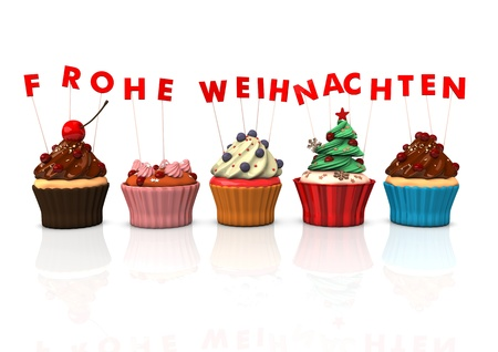 Colorful cupcakes with red german text Frohe Weihnachten, translate Merry Christmas. photo