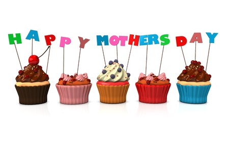 lovestruck: Colorful cupcakes with text happy mothersday. White background. Stock Photo