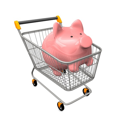 Shopping cart with pink piggy bank. White background.  photo