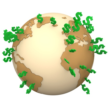 top of the world: Globe with green dollar symbols on the white background.