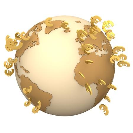 retour: Globe met gouden euro symbolen op de witte achtergrond. Stockfoto