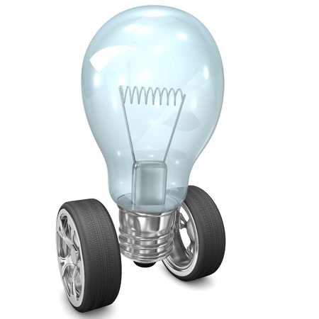 faster: Big bulb with two tires on the white background. Stock Photo