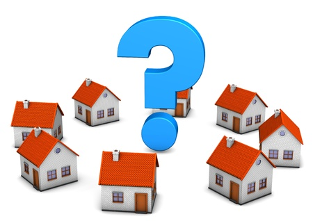 home search: Blue question mark with houses on the white backround.