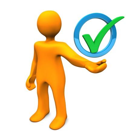 Orange cartoon Charakter mit grünen Häkchen in den blauen Ring. Standard-Bild