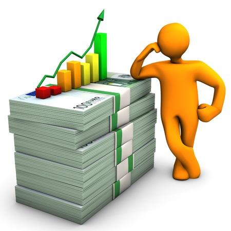 Orange cartoon Charakter mit Euro-Banknoten und bunte Grafik.