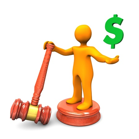 advocate: Orange cartoon character with auction hammer and green symbol of dollar. Stock Photo