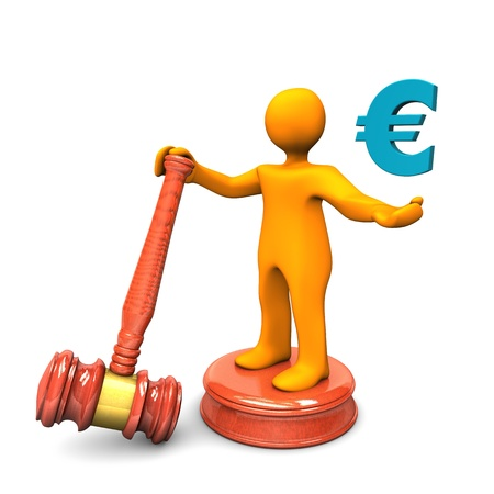 public service: Orange cartoon character with auction hammer and blue symbol of euro.