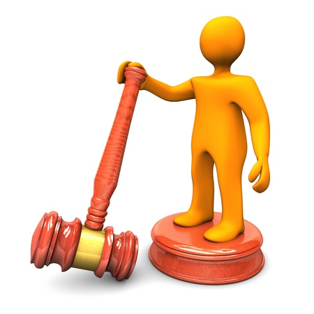 court proceedings: Orange cartoon character with big auction hammer  White background