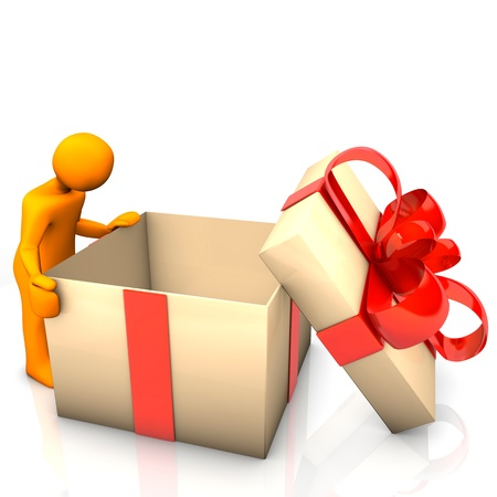 Orange cartoon character with big empthy gift box   photo