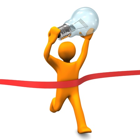 Orange cartoon character runs with big bulb  White background  photo
