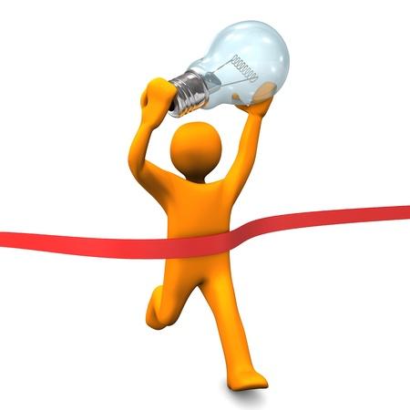 Orange cartoon Charakter läuft mit großen Glühbirne Weiß Hintergrund Standard-Bild