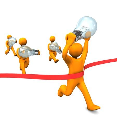 Orange cartoon characters runs with big bulbs  White background Stock Photo - 19713824