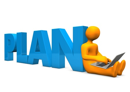 conceiving: Orange cartoon character with notebook and blue text plan