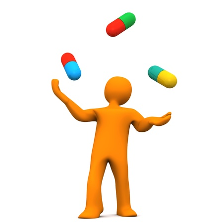 Orange cartoon character juggles with colorful pills  photo