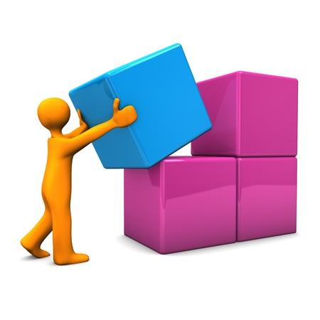 blue box: Orange cartoon character pushes the blue cube  Stock Photo