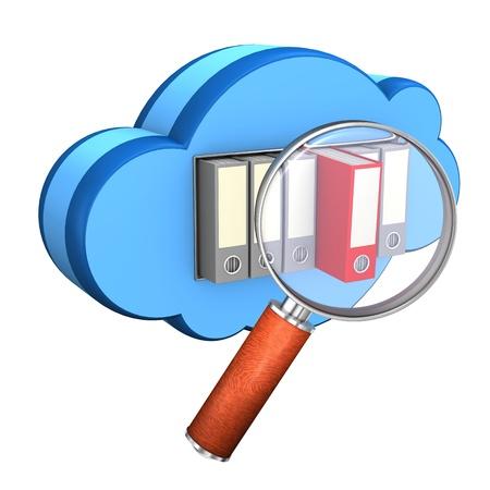 directorio telefonico: Nube azul con carpetas y lupa en el fondo blanco Foto de archivo