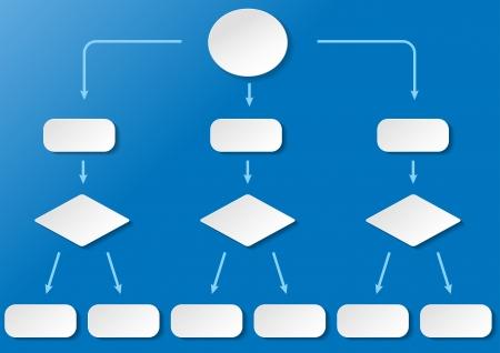 flujo de datos: Diagrama de flujo con con etiquetas de papel en el fondo azul