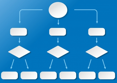 logical: Flowchart with with paper labels on the blue background   Illustration
