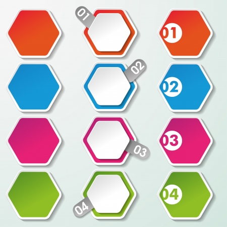 Four options paper hexagon labels   Vector