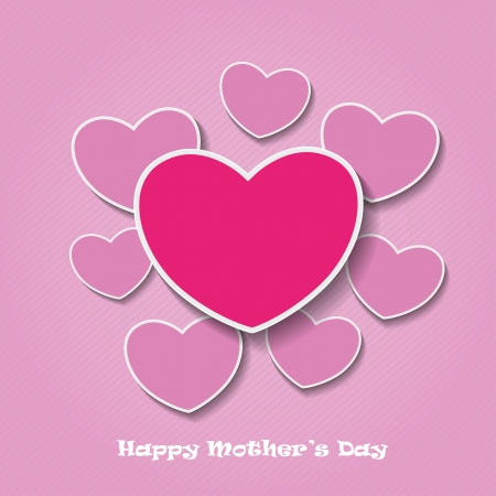 Happy mothers day pink heart shape papers   Vector