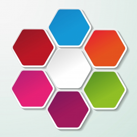 Four colorful paper hexagon labels