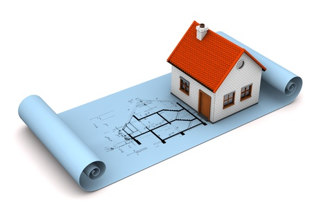 draftsman: Architectural drawing in blue color with small house on the white background.