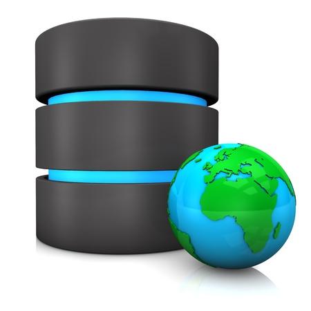 Database with globe on the white background. photo
