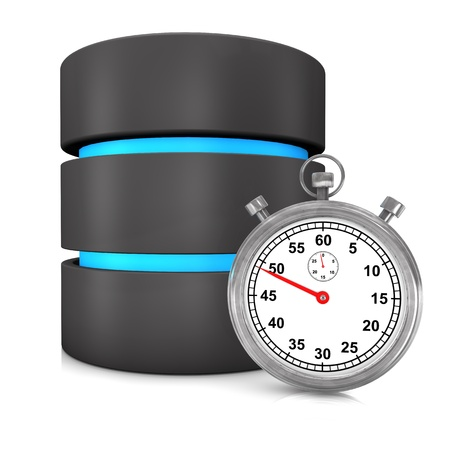 Fast database with stopwatch on the white background. photo