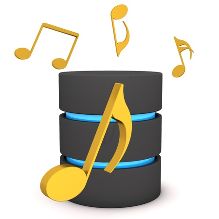 masters of rock: A database with golden music notes on the white background. Stock Photo