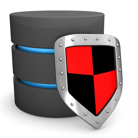 A database with protection shield on the white background. photo