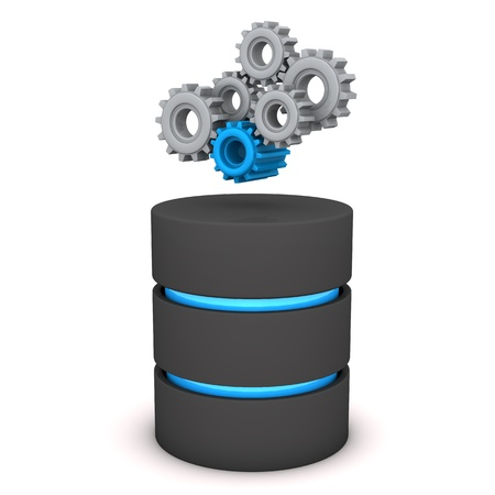 server technology: A database with gears on the white background. Stock Photo