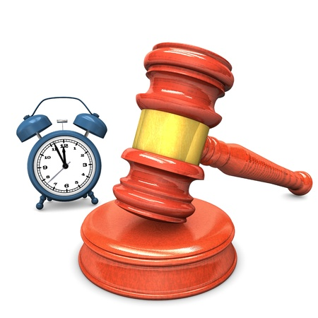 legal advice: Blue alarmer with an auction hammer on the white background.