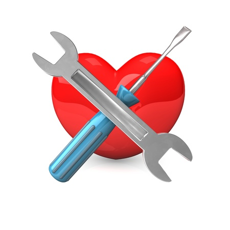 lovestruck: Red heart with a wrench and an spanner on the white background.