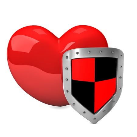Red heart with protective shield on the white background. photo