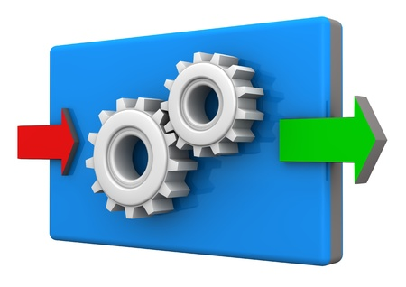 input output: Input and ouput arrows with gears on the white background. Stock Photo