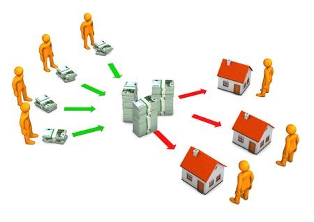 Banca mutuo per la casa con banconote in euro e personaggi dei cartoni animati arancione. Archivio Fotografico - 19903569