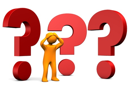 Orange cartoon character with big question marks. White background. Stock Photo - 19903370