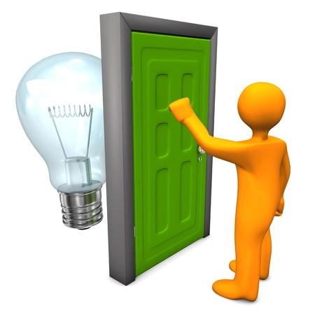 Orange cartoon character with green door and bulb. White background. Stock Photo - 19903562