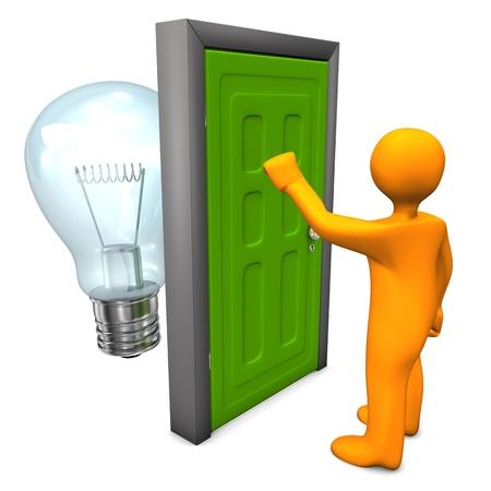 tocar la puerta: Personaje de dibujos animados de naranja con puerta verde y el bulbo. Fondo blanco.